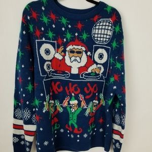 DJ Party Disco Santa Not So Ugly Christmas Sweater